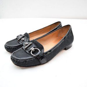 Coach Elkie Loafers 7.5 Black Logo Jacquard Buckle